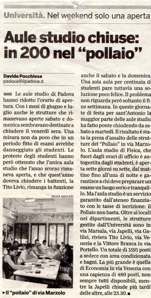 """Aule studio chiuse, in 200 nel """"Pollaio"""""""